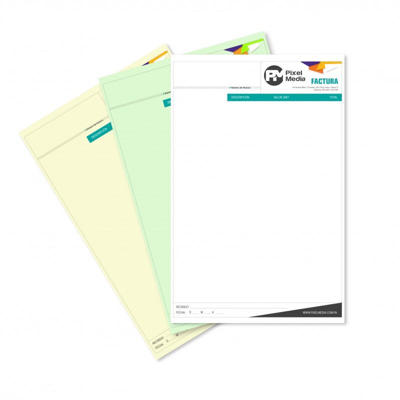Libretas de Facturas / Recibos Tamaño Carta - 2 Copias