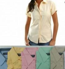 Camisa Oxford De Dama Manga Corta